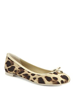 Dolce & Gabbana - Leopard-Print Canvas & Patent Bow Ballet Flats