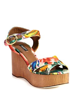 Dolce & Gabbana - Floral-Print Canvas Wooden Wedge Sandals