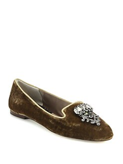 Dolce & Gabbana - Crystal-Embellished Velvet Smoking Slippers