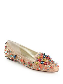 Dolce & Gabbana - Jeweled Straw & Patent Leather Smoking Slippers