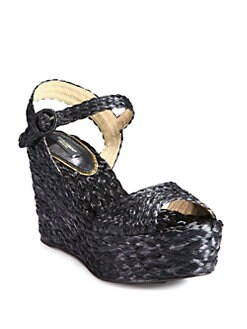 Dolce & Gabbana - Raffia Wedge Sandals