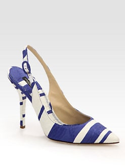 Dolce & Gabbana - Striped Canvas Slingback Pumps