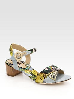 Dolce & Gabbana - Sicily Island-Print Canvas Sandals