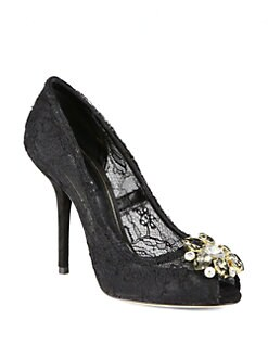 Dolce & Gabbana - Jeweled Lace & Suede Pumps
