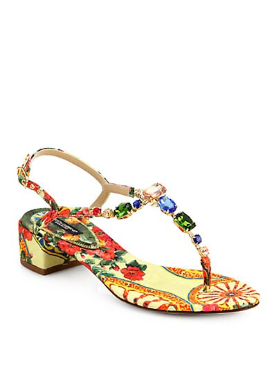 Jeweled Floral-Print Block-Heel Sandals