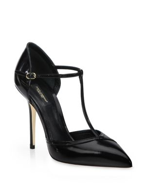 Patent Leather T-Strap Point-Toe Pumps