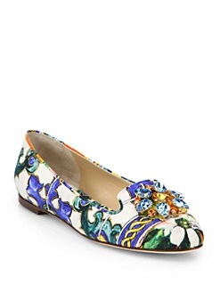 Dolce & Gabbana - Jeweled Brocade Smoking Slippers