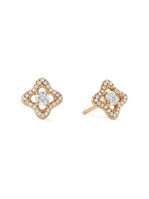Venetian Quatrefoil Earrings with Diamonds in 18K Yellow Gold