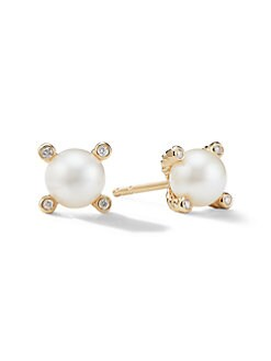 David Yurman - White Freshwater Pearl, Diamond & 18K Yellow Gold Earrings