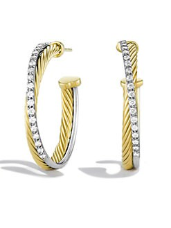 David Yurman - Diamond, 18K Gold & Sterling Silver Hoop Earrings