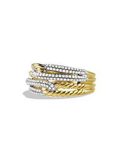 David Yurman - Diamond & 18K Gold Narrow Ring