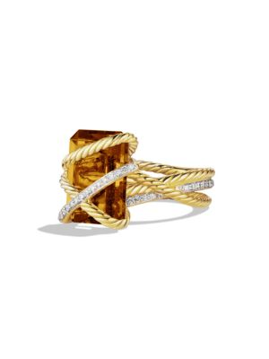 Cable Wrap Ring with Diamonds in Gold