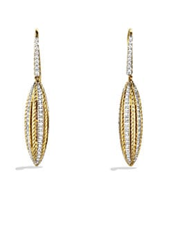 David Yurman - Diamond Accented 18K Gold Drop Earrings