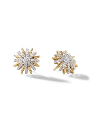 Starburst Earrings with Diamonds in 18K Yellow Gold/14mm