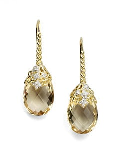 David Yurman - Diamond, Citrine & 18K Yellow Gold Earrings