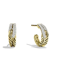 David Yurman - Diamond & 18K Gold Hoop Earrings
