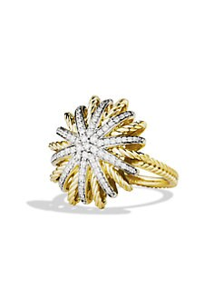 David Yurman - Pavé Diamond Encrusted 18K Gold Ring