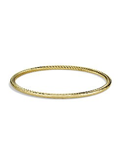David Yurman - 18K Gold Hammered Stackable Bracelet
