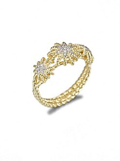 David Yurman - 18K Gold & Diamond Starburst Ring