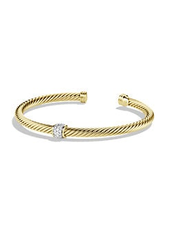 David Yurman - Diamond & 18K Yellow Gold Cable Bracelet