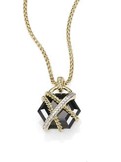 David Yurman - Diamond, Black Onyx and 18K Yellow Gold Necklace