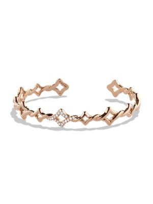 Venetian Quatrefoil Single-Row Cuff Bracelet with Diamonds in Rose Gold