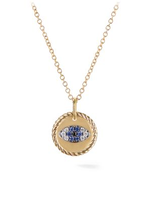 Cable Collectibles Evil Eye Charm Necklace with Blue Sapphire, Black Diamonds, and Diamonds in Gold