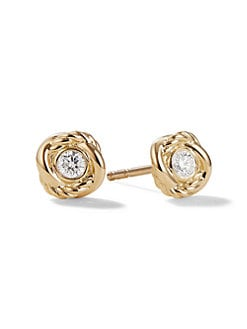 David Yurman - Diamond & 18K Yellow Gold Earrings