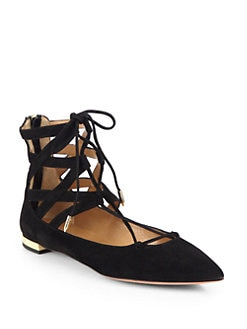 Aquazzura - Belgravia Suede Lace-Up Flats