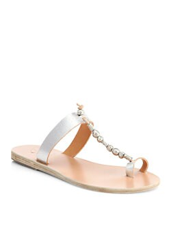 Ancient Greek Sandals - Iris Beaded Metallic Leather Sandals
