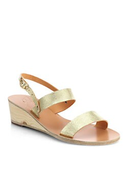 Ancient Greek Sandals - Clio Metallic Leather Wedge Sandals