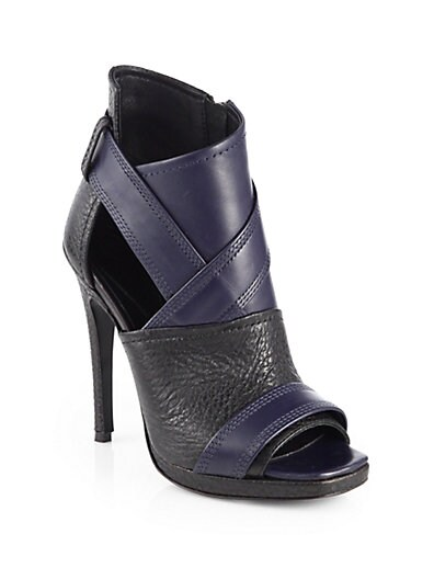 Lara Bicolor Leather Open-Toe Ankle Boots