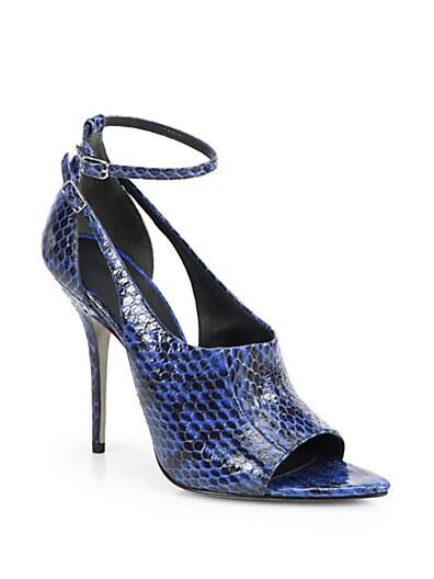Carolyn Snakeskin Ankle-Strap Sandals