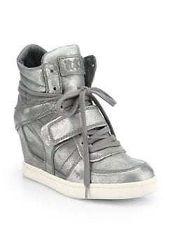 Ash - Cool Metallic Leather Wedge Sneakers