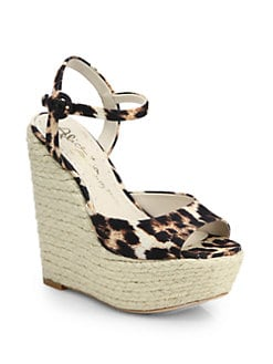Alice + Olivia - Stella Leopard-Printed Canvas Wedge Espadrille Sandals