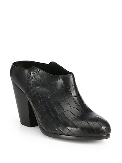 Enid Croc-Embossed Leather Mules