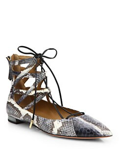 Aquazzura - Belgravia Snakeskin Lace-Up Flats