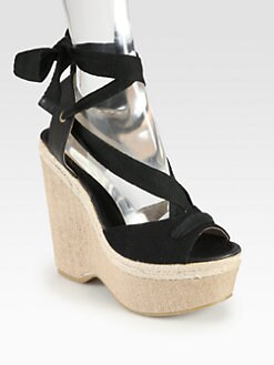 Joie - Oceanside Tie-Up Canvas Espadrille Wedges