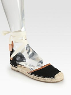 Joie - Miramar Tie-Up Canvas & Leather Espadrilles