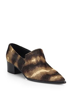 Acne Studios - Jaycee Lamb Hair Point-Toe Loafers