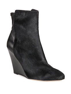 Vince - Lanie Suede & Calf Hair Wedge Ankle Boots