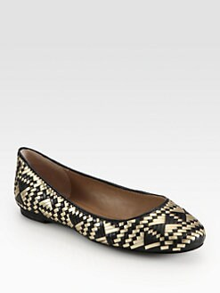 Rebecca Minkoff - Uma Woven Metallic Leather Ballet Flats