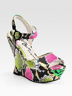 Alice + Olivia - Jana Snake-Print Leather Wedge Sandals