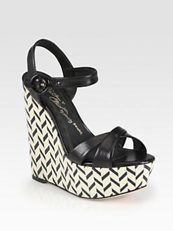 Alice + Olivia - Sorell Leather Chevron Wedge Sandals