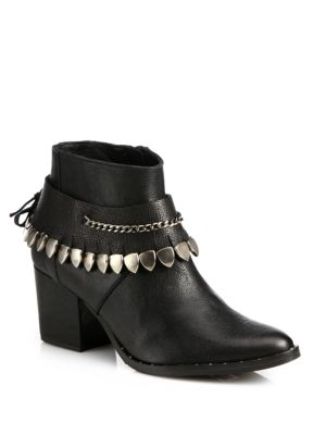 Comet Chained Leather Ankle Boots