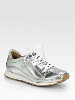 Elizabeth and James - Evva Metallic Leather Lace-Up Sneakers