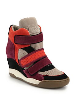 Ash - Alex Colorblock Suede Wedge Sneakers