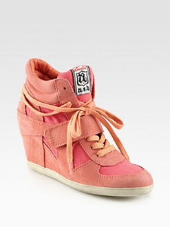 Ash - Bowie Suede & Canvas Wedge Sneakers