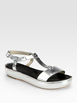 Elizabeth and James - Cree Metallic Leather Platform Sandals
