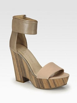 See by Chloe - Canvas & Leather Ankle Strap Wooden Wedge Sandals
